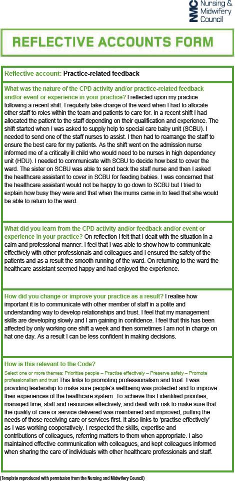 reflective learning portfolio examples