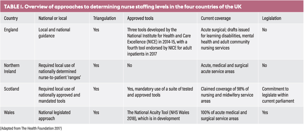 Development of approaches and legislation to optimise nurse